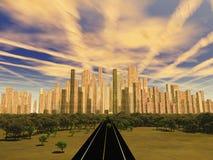 Road to city alien sky Royalty Free Stock Photo