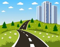 Road to a city stock illustration
