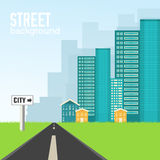Road to the city on flat style background concept Royalty Free Stock Image