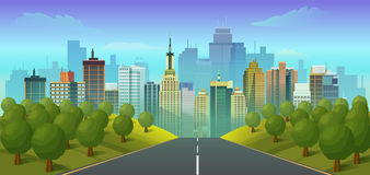 Road to city landscape. Vector illustration,flat style vector illustration