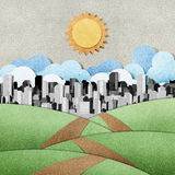 Road to the city recycled papercraft background Royalty Free Stock Image