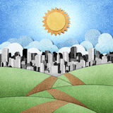 Road to the city recycled papercraft background Stock Images