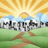 Road to the city recycled papercraft background Stock Photography
