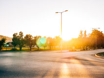 The road to the city of sun and glare Royalty Free Stock Photography