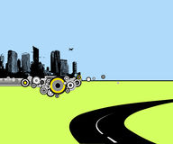 Road to city. Vector art Royalty Free Stock Photo
