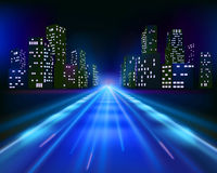 Road to the city. Vector illustration Royalty Free Stock Photo