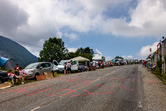 The Road to Col D'Aubisque. Gourette, France- July 15th, 2011:Image of the road to Col d'Aubisque few minutes before the peloton will arrive during the 13th Royalty Free Stock Photo