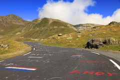 Road to Col du Tourmalet. This is an image of the famous and historical cycling climbing route to Col du Tourmalet (in Pyrenees Mountains) which is a constant Stock Photography