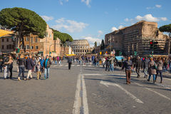 The road to colesseum in Rome, Italy. Royalty Free Stock Images