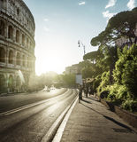 Road to Colosseum in sunset time, Rome, Italy Royalty Free Stock Images
