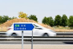 Road to Cordoba sign on the road stock photo