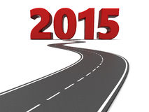 Road to 2015. 3d illustration of 2015 year sign and asphalt road stock illustration
