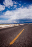 Road to Death Valley. The long and lonely road crossing Death Valley National Park, California royalty free stock image