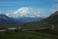 Road to Denali. The Denali Park Road winds towards Mount McKinley Stock Photo