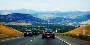 Road To Denver Colorado State Usa Mountains Ahead Stock Images