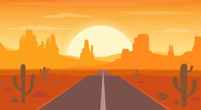 Free Road To Desert Landscape At Sunset With Cactus And Hills Silhouettes Background Stock Images - 168955754
