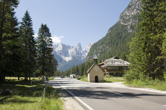 Road to Dolomites. Mountain road in Cadore, northeastern Italy Stock Photography