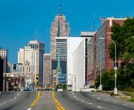 Road to Downtown Detroit. Rush hour traffic in downtown detroit business district stock images
