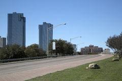 Road to downtown Fort Worth. TX USA stock photos