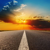 Road to dramatic sunset Royalty Free Stock Image