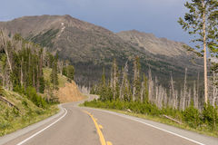 Road to East Entrance Yellowstone National Park Avalanche Peak Stock Photo