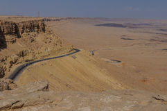 The road to Eilat descending to the Ramon Crater Royalty Free Stock Images