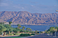 Road to Eilat. Eilat - resort city on the Red sea in south Israel. The mountains are the Jordan territory Royalty Free Stock Photos
