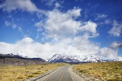 Road to El Chalten with Fitz Roy Mountain range, Argentina. Royalty Free Stock Photo