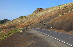 Road to El Teide volcano. Royalty Free Stock Image