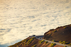 Road to El Teide Volcano at sunset in Tenerife Royalty Free Stock Photography
