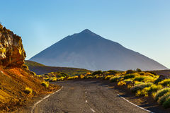 Road to El Teide Volcano at sunset in Tenerife Royalty Free Stock Photos