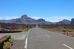 Road to El Teide volcano, Tenerife. Royalty Free Stock Photos