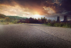 Road to Environmental pollution. Global warming and the road to Environmental pollution Royalty Free Stock Images