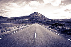 Road to the Errigal mountains toned Royalty Free Stock Images