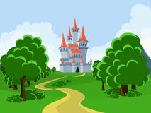 The road to the fairytale castle. Castle in the hills and mountains which is a winding road Royalty Free Stock Images