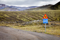 Road to famous Landmannalaugar, South Iceland Royalty Free Stock Image