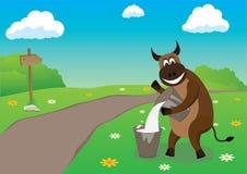 Road to a farm. Bull near road to a farm Royalty Free Stock Photo
