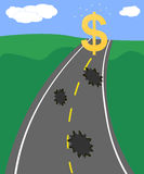 Road to financial success. Rough road full of potholes leading to dollar sign Royalty Free Stock Photos