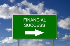 Road to Financial Success Road Sign. With Blue Sky Stock Photography