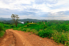 Road to fishing village in reservoir Stock Photography