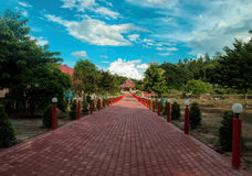Road to the forest. Brick pathway to the house Royalty Free Stock Images