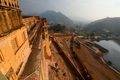 The road to the fort at dawn. Amer Palace (or Amer Fort). Jaipur. Rajasthan. India Royalty Free Stock Photography