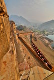 The road to the fort at dawn. Amer Palace (or Amer Fort). Jaipur. Rajasthan. India Royalty Free Stock Photos
