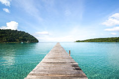 Road to freedom and relax. Wooden bridge road to freedom and relax at sea from Thailand Royalty Free Stock Photo