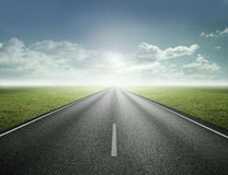 Road to future. The highway straight to the bright future Royalty Free Stock Photo