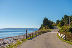 Road to Gaspe beach in Forillon National Park Stock Images