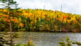 On the road, autumn colors, Tadoussac Quebec Stock Image