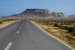 Road to Gobustan Natural park with beautiful stones and ancient neolithic rock paintings, Azerbaijan,near Baku stock images