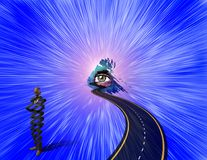 Road to The God. Road to God`s Eye. Surreal figure of businessman, helix shape. Human elements were created with 3D software and are not from any actual human Stock Photography