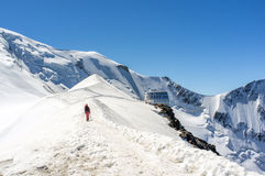 Road to Gouter. The final path to gouter refuge, on the way to mont blanc Royalty Free Stock Photo